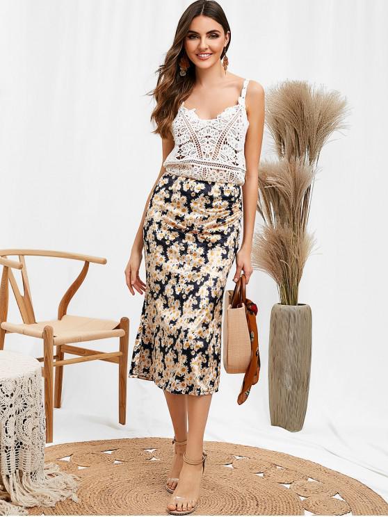 fancy ZAFUL Side Zipper Velvet Floral Skirt - MULTI S