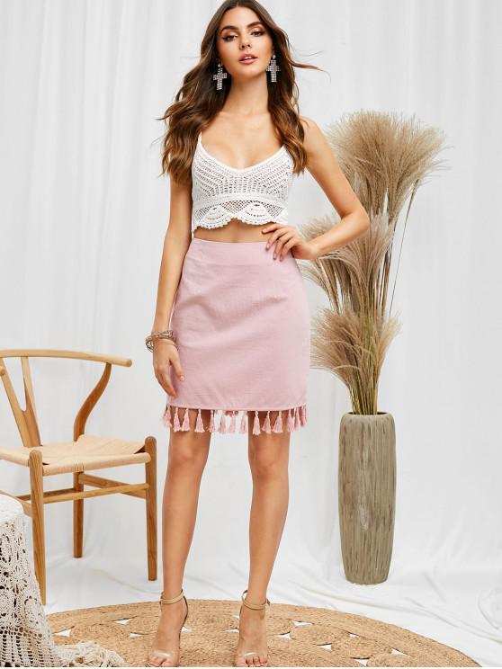 shop ZAFUL Tassel Fitted Mini Skirt - PINK M