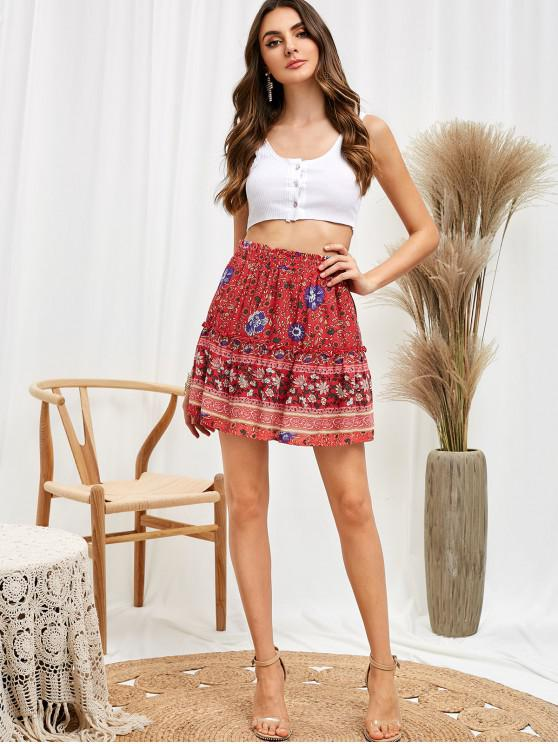 hot Bohemian Floral Frill Skirt - RED S