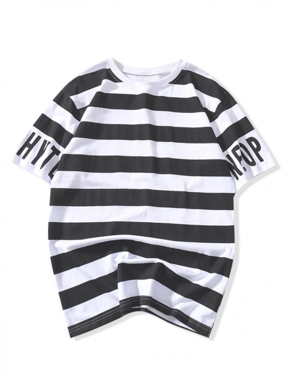 women's Short Sleeves Letters Striped Print T-shirt - BLACK M