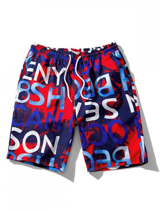 unique Letters Leaves Printed Beach Shorts - RED XS