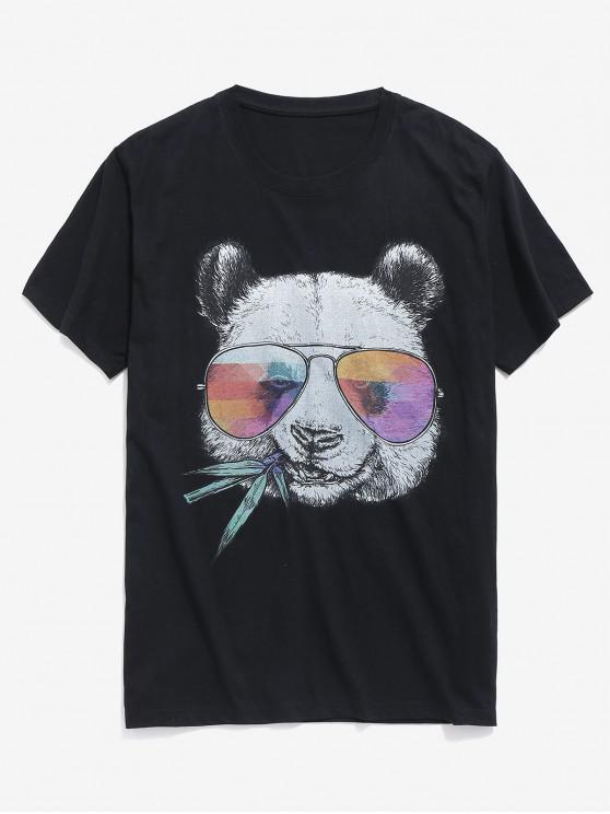 lady Panda Animal Print Short Sleeves T-shirt - BLACK 2XL