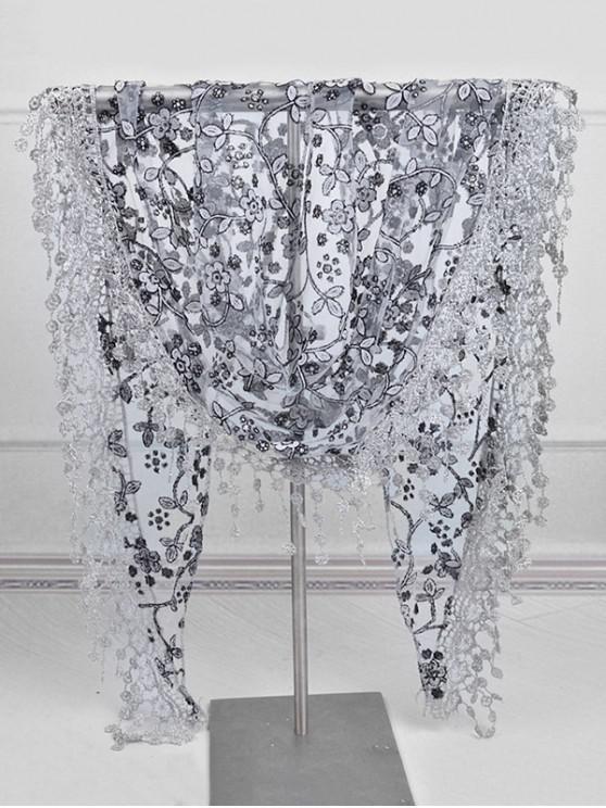 sale Fringe Lace Flower Triangle Scarf - JET BLACK