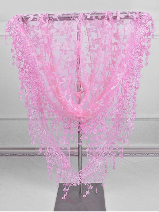 women Fringe Lace Flower Triangle Scarf - PINK
