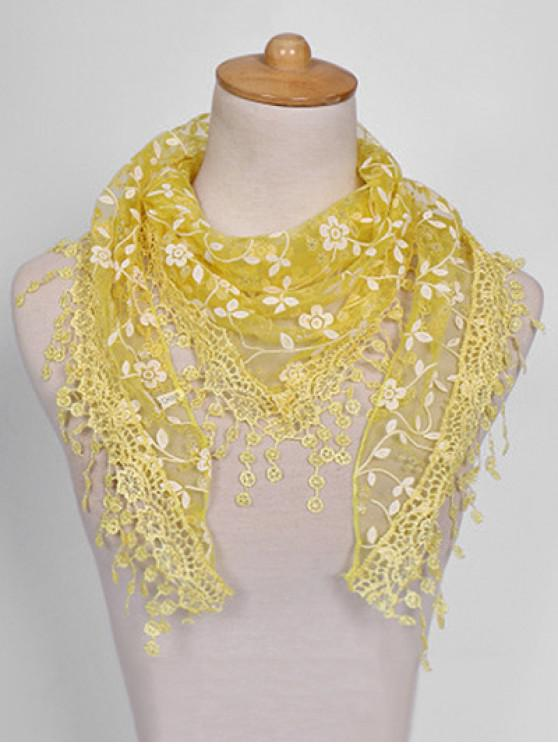 women's Fringe Lace Flower Triangle Scarf - YELLOW