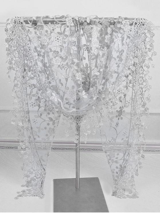 ladies Fringe Lace Flower Triangle Scarf - GRAY