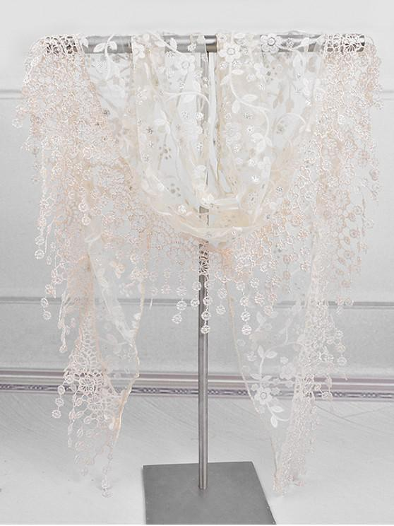 new Fringe Lace Flower Triangle Scarf - BEIGE