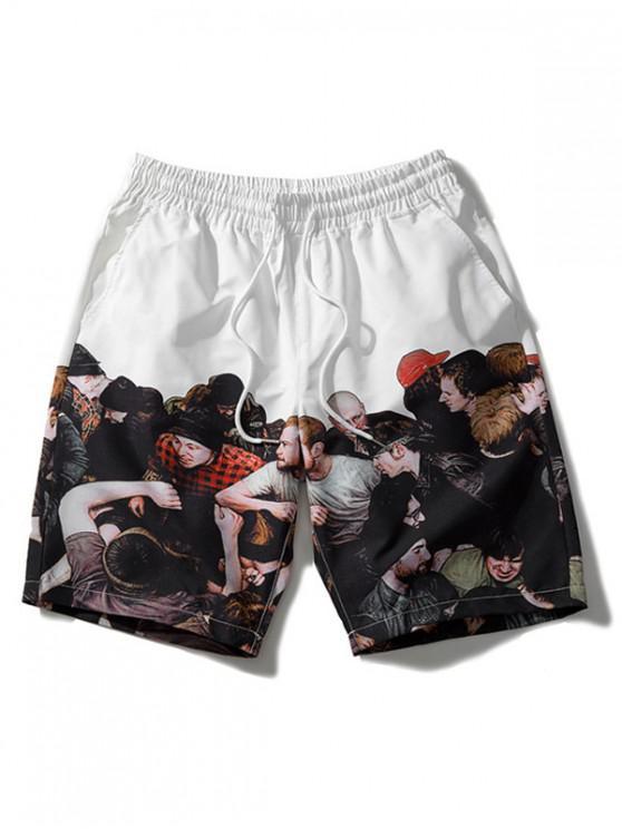 Pantalones cortos de playa con cordón impreso - Blanco XL