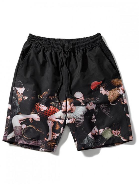 Pantalones cortos de playa con cordón impreso - Negro XL