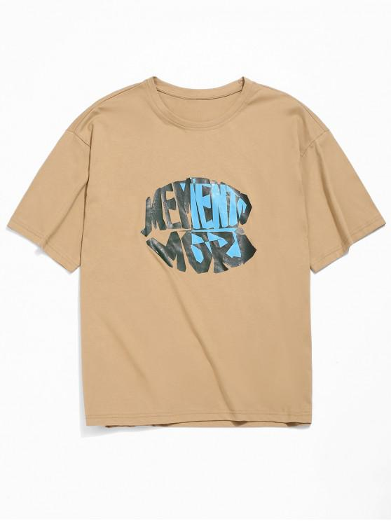 Buchstabendruck- Fallschulter T-Shirt - Tan 2XL