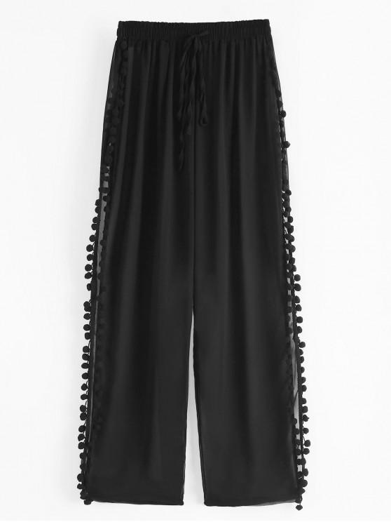 shop Slit Pom Pom Sheer Beach Pants - BLACK S
