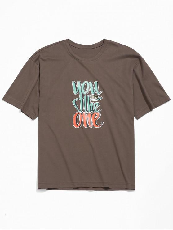 Letras de impresión de la camiseta del hombro gota - Café M