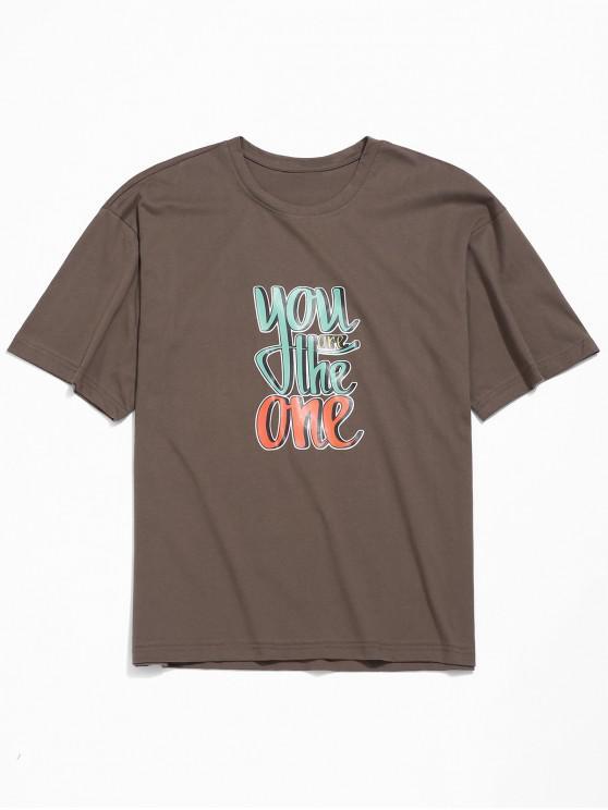 Letras de impresión de la camiseta del hombro gota - Café 3XL