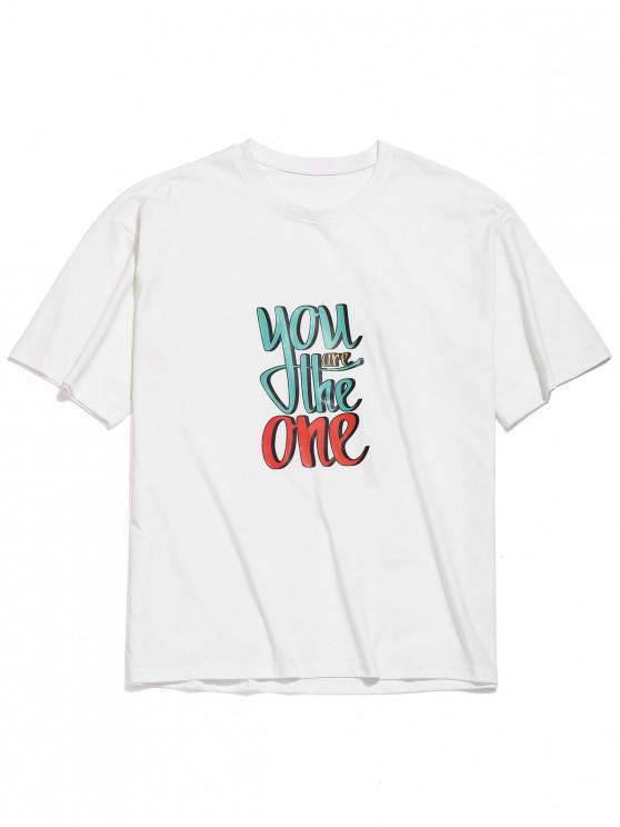 Letras de impresión de la camiseta del hombro gota - Blanco 2XL