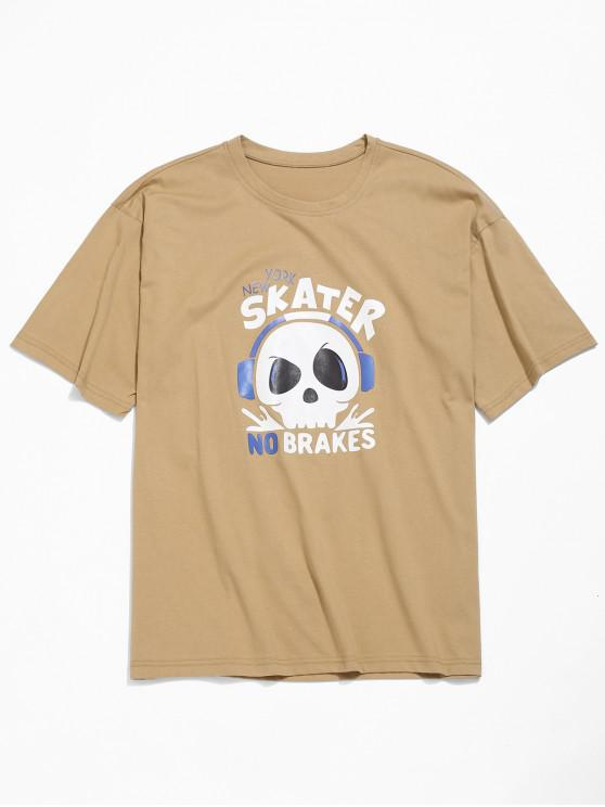 fashion Skull Letters Print Drop Shoulder T-shirt - TAN L