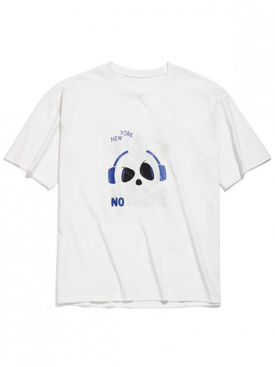 T-shirt à épaules dénudées avec lettres crâne - Blanc 3XL