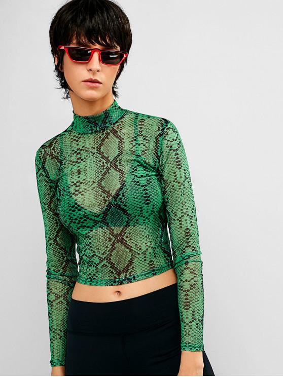 women Mesh Sheer Snake Print Crop Tee - MULTI M