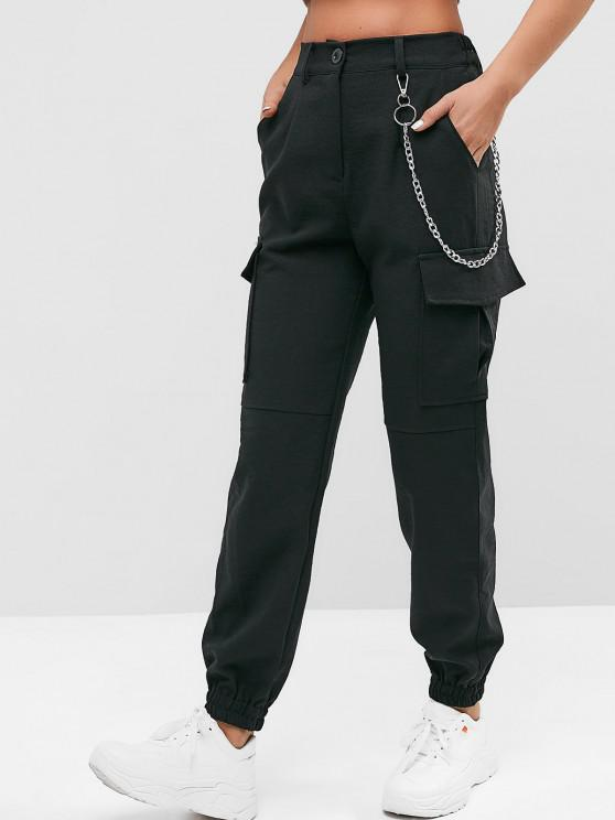 lady Flap Pockets Chain Jogger Pants - BLACK L