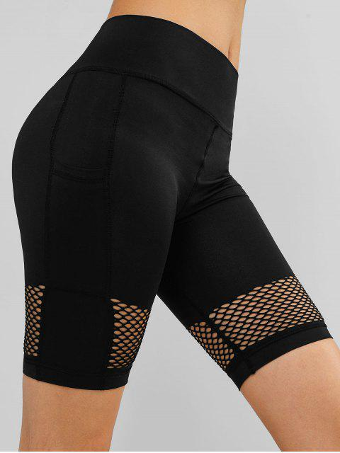 Pantalones cortos de ciclista de gimnasio de calado ancho calado - Negro M Mobile