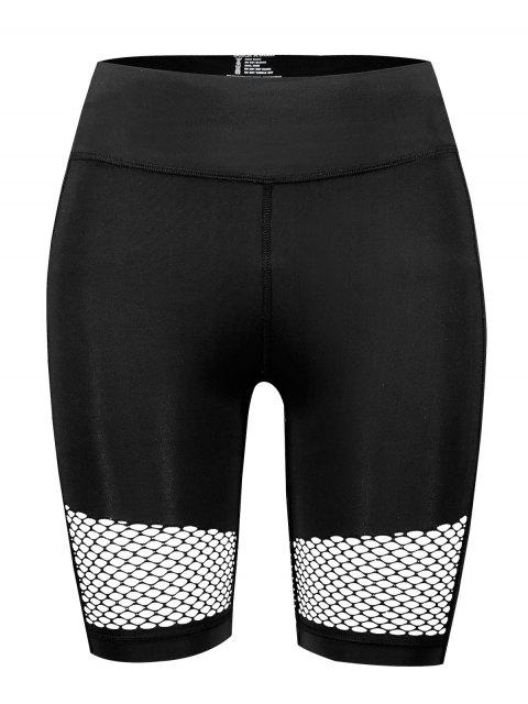 Pantalones cortos de ciclista de gimnasio de calado ancho calado - Negro L Mobile