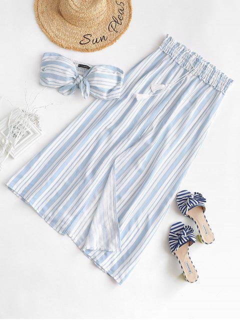 best Stripes Shirred Panel Tube Top and Slit Skirt Set - BABY BLUE S Mobile
