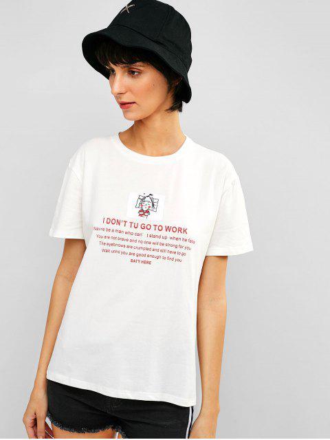 Carta de cuello redondo gráfico camiseta informal - Blanco XL Mobile