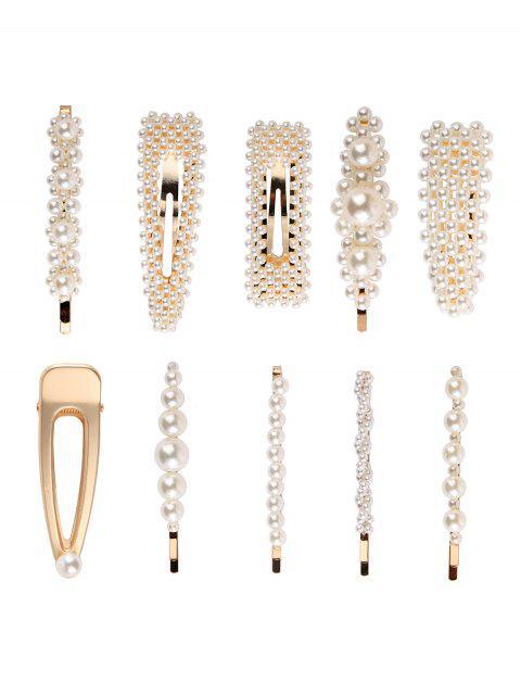10шт Искусственный жемчуг Заколки для волос - Золотой  Mobile