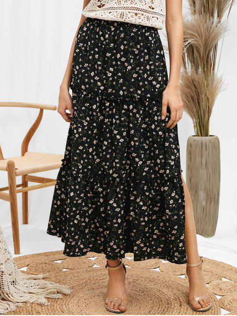 women's ZAFUL Ruffles Tiny Floral Midi Skirt - BLACK L Mobile