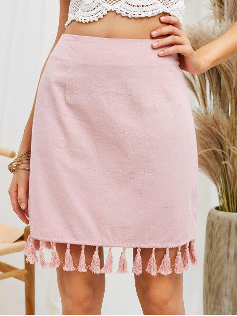 trendy ZAFUL Tassel Fitted Mini Skirt - PINK S Mobile