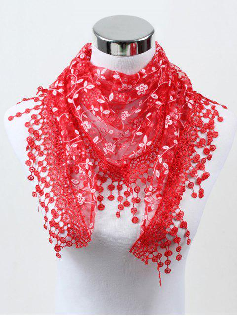 affordable Fringe Lace Flower Triangle Scarf - RED  Mobile
