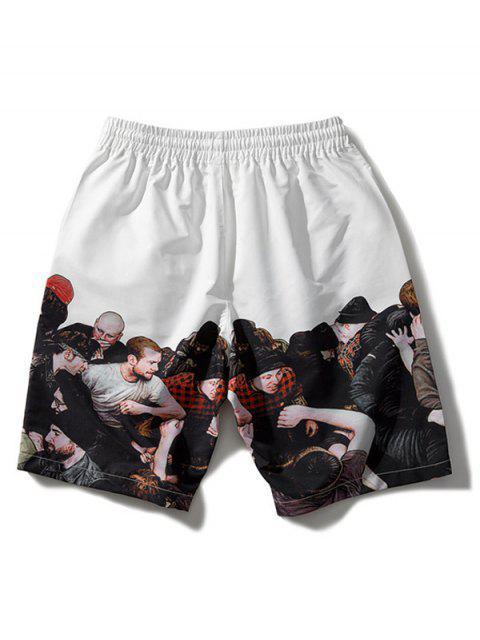 fancy Crowded People Print Drawstring Beach Shorts - WHITE XL Mobile