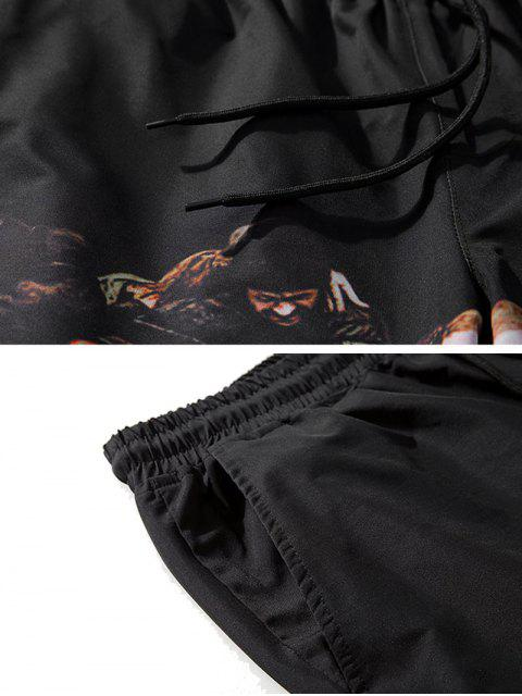 womens Crowded People Print Drawstring Beach Shorts - BLACK XL Mobile