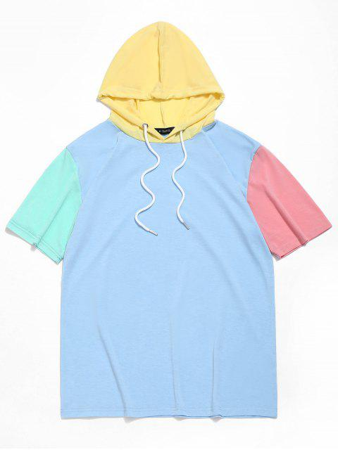 lady ZAFUL Color Block Panel Hooded T-shirt - DAY SKY BLUE M Mobile