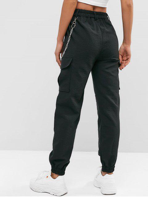 sale Flap Pockets Chain Jogger Pants - BLACK S Mobile