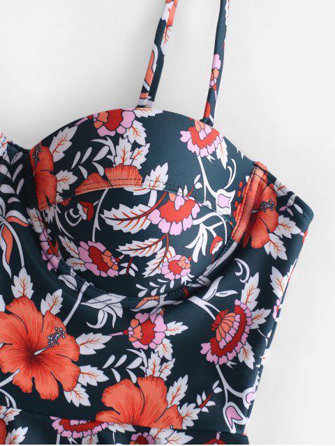 ZAFUL moldeado Peplum Floral Tankini Set - Multicolor-A L Mobile