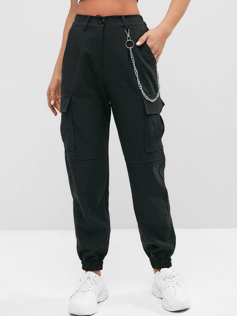 ladies Flap Pockets Chain Jogger Pants - BLACK M Mobile