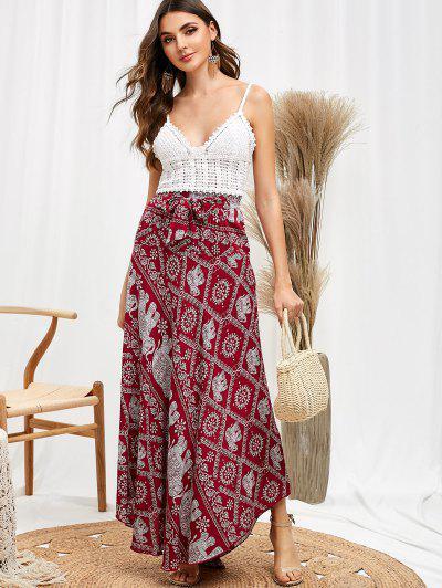 b8bbfe53f12 Tribal Print Knotted Asymmetric Skirt - Plum Pie L ...
