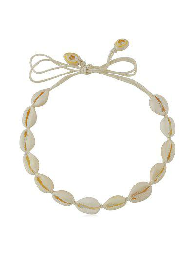 Cowrie Shell Rope Choker Necklace - Beige