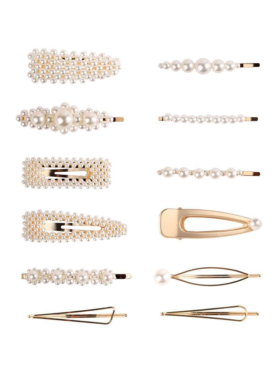 12Pcs Artificial Pearl Hairpins Set