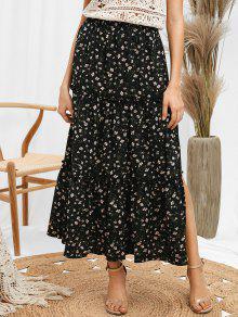 3b832330b4 24% OFF] 2019 ZAFUL Ruffles Tiny Floral Midi Skirt In BLACK   ZAFUL