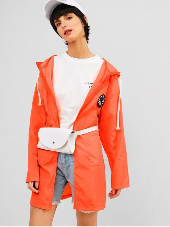 women's Pocket Zip Hooded Tunic Sun Protective Jacket - ORANGE M