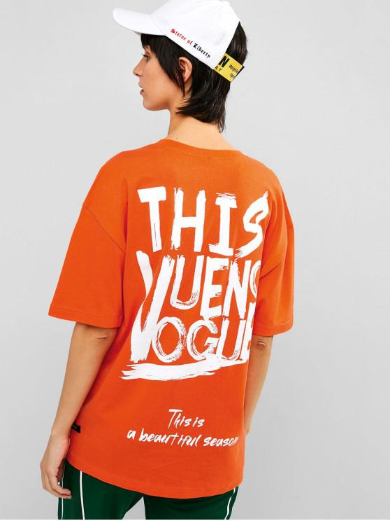 outfits Drop Shoulder Graphic Tunic Neon Tee - MANGO ORANGE S