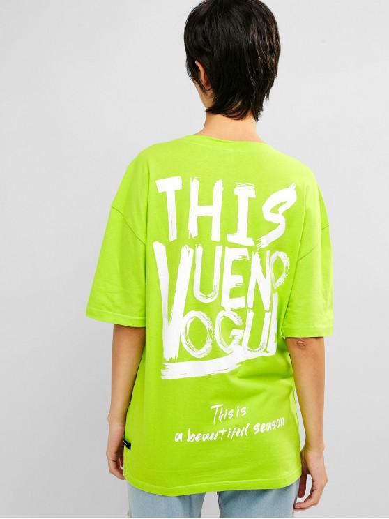 fashion Drop Shoulder Graphic Tunic Neon Tee - TEA GREEN S