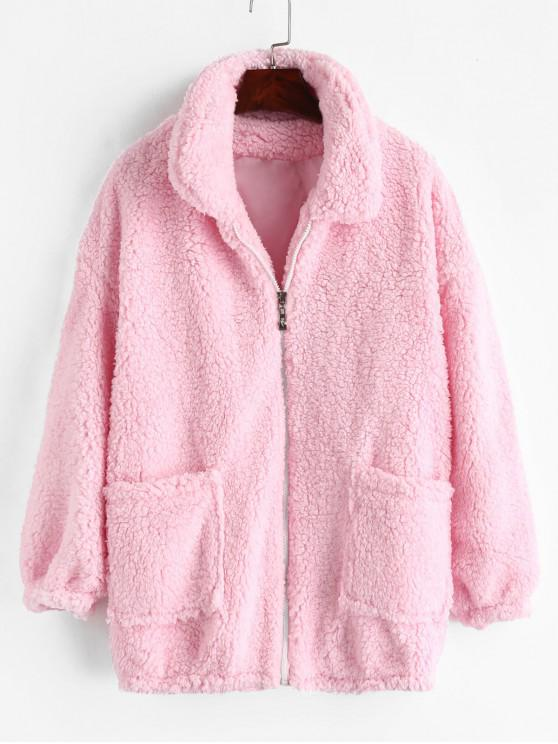 shops Fluffy Faux Fur Winter Teddy Coat - PINK L
