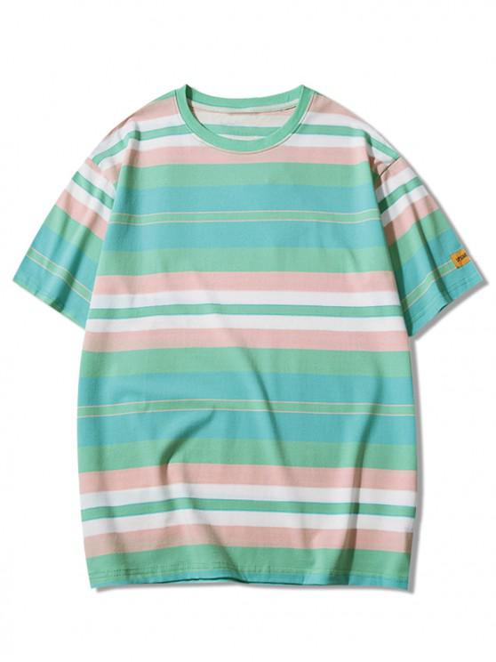 outfit Striped Print Applique Short Sleeves T-shirt - MACAW BLUE GREEN 2XL