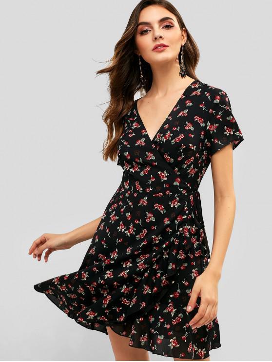 shop ZAFUL Floral Chiffon Flounce Wrap Dress - NIGHT M
