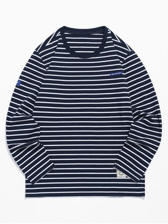 outfit Striped Print Long Sleeves T-shirt - DEEP BLUE M
