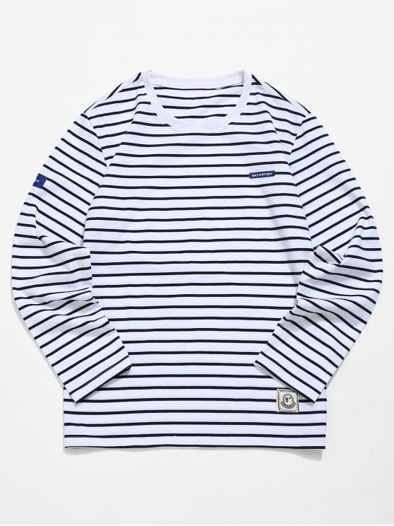 shops Striped Print Long Sleeves T-shirt - BLACK M
