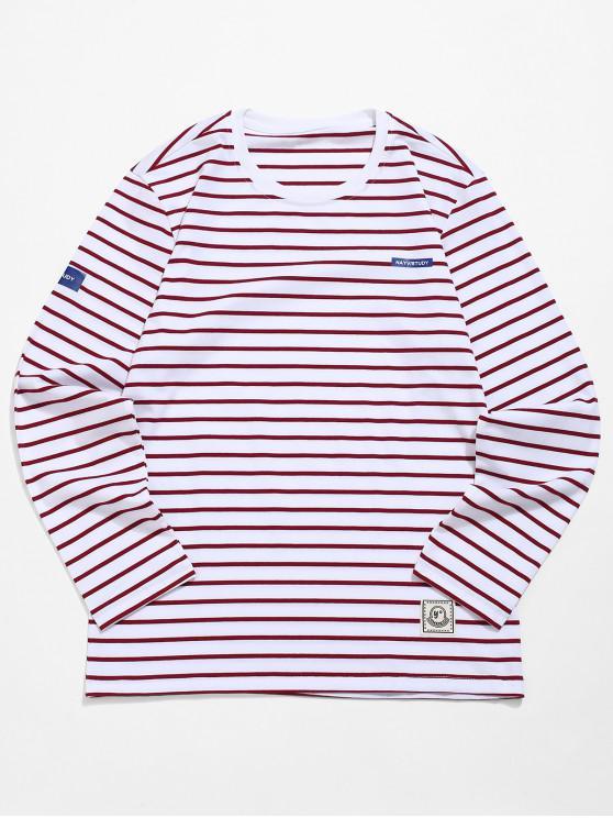 Camiseta de manga larga con estampado de rayas - Rojo Lava M