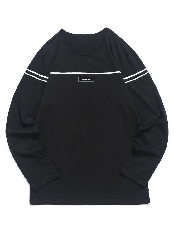 unique Applique Striped Print Long Sleeves T-shirt - BLACK M